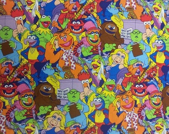 Muppets Fabric 100% Cotton Material By Metre Kermit Frog Miss Piggy Fozzie Bear Gonzo Cushions Bags Bunting