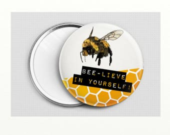 bumble bee ''bee-lieve in yourself'' pocket mirror