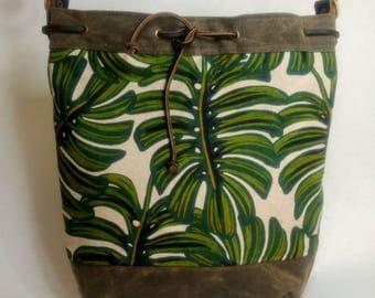 The Diva Crossbody Tote Bag, Waxed Canvas, Canadian Made, 1867Shop, Handmade, Bucket Bag,Monstera