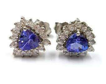 Tanzanite Earrings; Natural Tanzanite Stud Earrings, 1.21 Carats; Sterling Silver