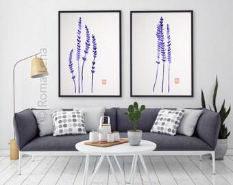 Kitchen Decor wall art Lavender Home wall art decor modern interior contemporary art prints Watercolor painting art print abstract minimal