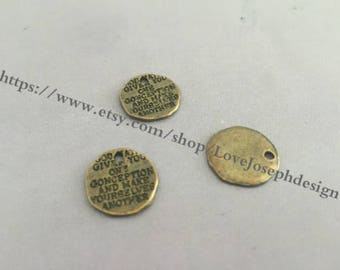 15 Pieces /Lot Antique Bronze Plated 15mm Word Charms (#0231)