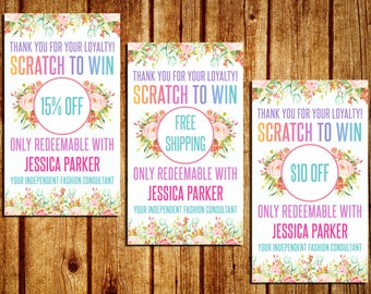 Scratch Off Cards - Home Office Approved - Business Card - Scratch To Win Cards - Floral Watercolor - Personalized - YOU PRINT