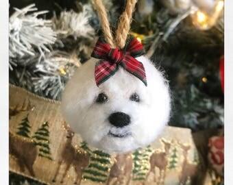 Needle Felted Bichon Frise Puppy Dog Festive Christmas Tree Bauble Hang-Up Gift Plushie Ornament