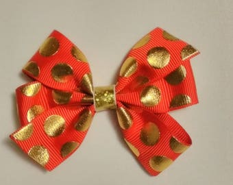 Christmas hair bow, jingle bells hair bow, winter hair bow, baby headband, gold polka dot hair bow,  red and gold hair bow clip