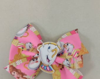 Princess Belle hair bow, Princess hair bow, Beauty hair bow, fairy tale hair bow, dress up hair bow, tea pot hair bow, Beauty and the Beast