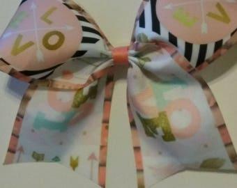 Love cheer bow, Bohemian cheer bow, Valentine's cheer bow, girls hair bow, dance team hair bow, cheerleader bow