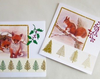 2 Christmas 3D greeting cards - Fox and Squirrel
