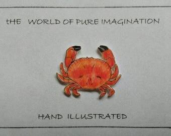 Summer crab Brooches.crab pin.crab badge.hand illustrated.hand drawn.