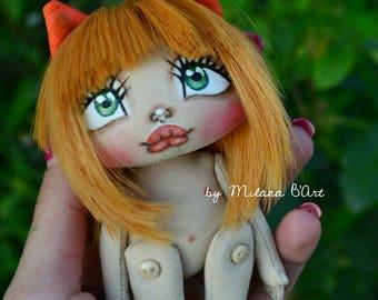 SALE FOXY girl, textile doll fabric doll beautiful doll handmade doll art doll fox, ooak doll interior doll author's doll collectible doll