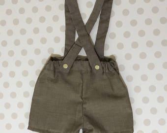 Hipster Baby Boy Suspender Shorts