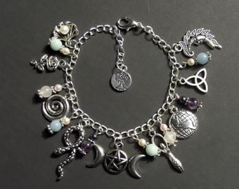 Pagan/Wiccan Triple Moon Goddess Charm Bracelet with Amethyst, Rose Quartz, Amazonite, & Angelite. Wicca, Witch, Pentacle, Blessed Be