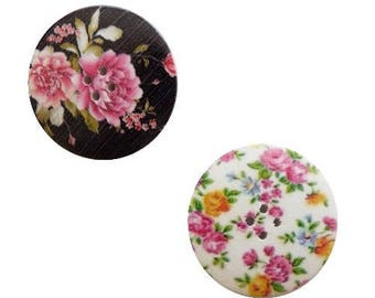 2 round buttons, sewing, scrapbooking, 4 cm flower II