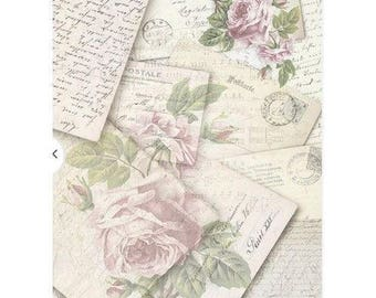 1 sheet of 21 x 28 cm VINTAGE ROSES 744 collage decoupage rice paper