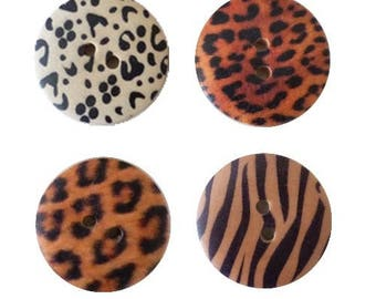 4 round buttons wood 2.5 cm Savannah