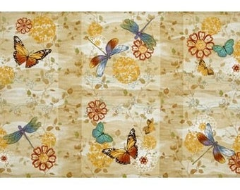 Fabric patchwork/decorative painting of BUTTERFLIES 2 110 X 59 CM