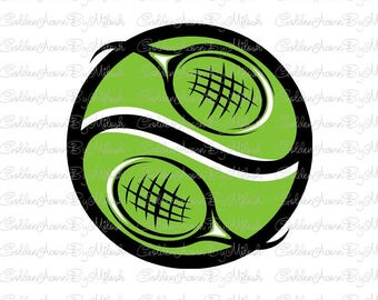 Tennis Svg Dxf Png Eps Files Vector tennis ball tennis racket logo clipart sports print Digital Download cutting file svg for silhouette