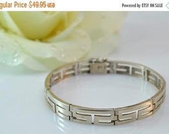 HUGE Sale Geometric Pattern Hinged Link Bracelet Sterling Silver 12.1g