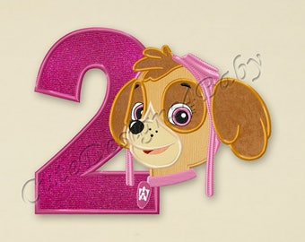Paw Patrol Skye Number 2 applique embroidery design, Paw Patrol Machine Embroidery Designs, Embroidery designs baby, Instant download #041