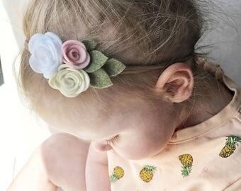 Triple Felt Flower Nylon Headband, nylon headband, felt flowers, felt headband, baby headband, pink flower headband, girl headband
