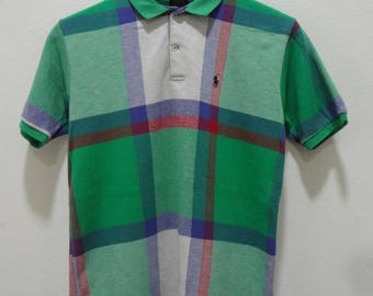 vintage polo ralph lauren shirt color block multicolor made in usa polo sport p wing polo bear stadium sportwear Size L