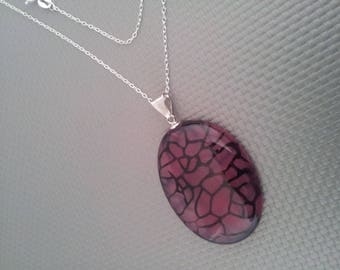 Silver - AGATE pendant NECKLACE