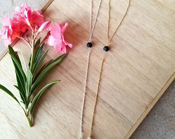 Aromatherapy modern Y necklace.