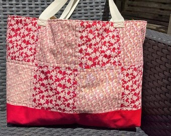 Tote bag, red tote bag, red bag, fabric tote bag, patchwork tote bag, red patchwork tote bag