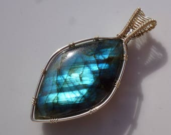 Labradorite pendant with 39mm, Labradorite, pendant - blue wire wrapped silver plated