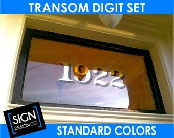 Home Address Transom Vinyl Decal Sticker for Window Glass Pane Old town Historic Landmark Building FIRECODE numbers digits graphic lettering