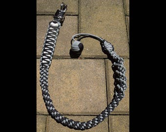 """Paracord Black & Light Gray with Monkey Fist 34"""" get back whip"""