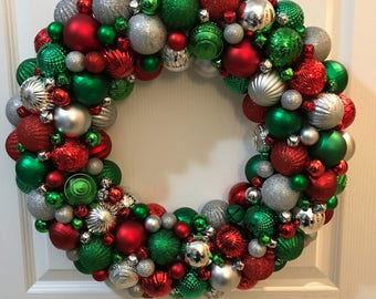 Gorgeous Red, Green, and Silver Ornament Christmas Wreath! Bauble wreath! The most detailed wreath you will ever find!