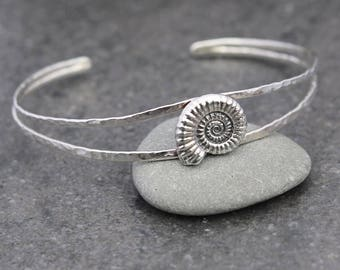 Medium Ammonite Silver Bangle Cuff - real ammonite - natural fossil - Organic - Boho - Special gift for her