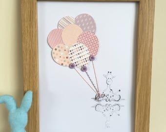 Nursery Picture/Print/Drawing Handmade - Baby Girl Giraffe. Can be personalised