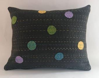 Designer throw pillow cover, linen pillow, kantha, embroidered pillow cover, repurposed linen pillow cover