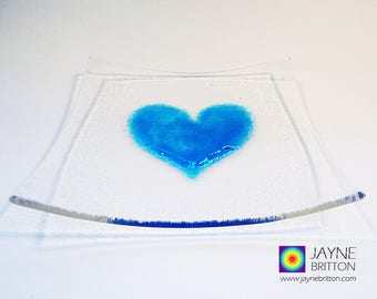 Fused glass turquoise blue heart on square clear glass plate, snack plate, altar plate, presentation plate, sweetie bowl, gift of love