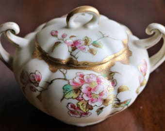 Vintage Covered Sugar Bowl - Diana GY - Pink Cherry Blossoms and Gold Trim