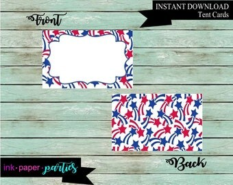 Instant Download ~ Patriotic July 4th Memorial Labor Day Red, White Blue Stars Party Food Place Table Tent Cards ~DIY~ Digital File