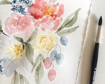 Original Floral Watercolor, Flowers