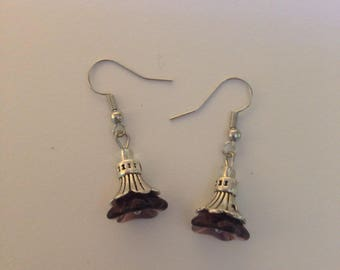 Purple and Silver Flower Earrings