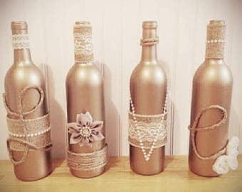 Wine bottle decor, rustic home, farmhouse, country wedding, twine wrapped bottles, yarn wrapped bottles, rustic vases, centerpieces