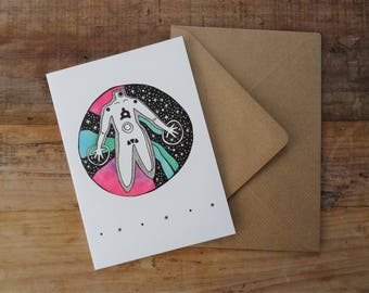 YOGA GREETINGS CARD ~ Free Postage to Uk ~ Galaxy Birthday Card ~ Meditation Lover Gift ~ Whimsical Greetings Card ~ Quirky Birthday Card