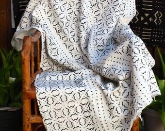 "African Mud Cloth, Mudcloth, Bogolan Throw, White and Black, 60"" x 36""  #239WMC"