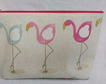 Large wash bag, toiletry bag, sponge bag, travel bag, makeup bag, flamingo, oilcloth bag, cosmetic bag, large toiletry bag, large travel bag