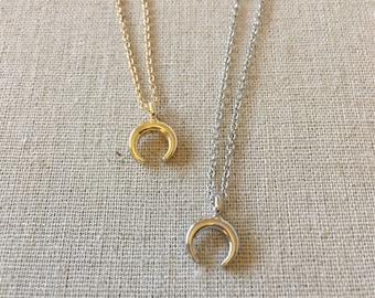 Crescent Moon Necklace, Half Moon Necklace, Half Moon Charm, Horn Necklace, Gold Necklace, Dainty Necklace, Birthday gift, Bridesmaid gift