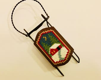 Christmas mini sled, Christmas tree decoration, Christmas ornament, cross stitch ornament, completed finished cross stitch, little house