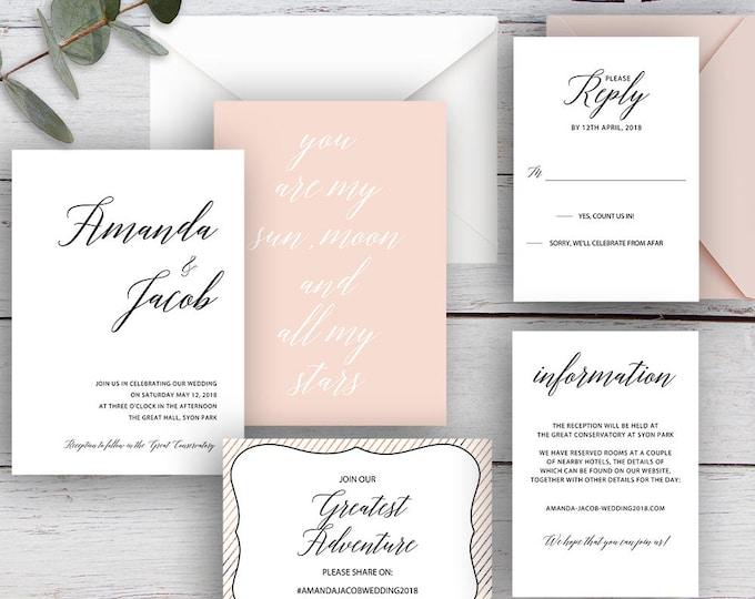 Featured listing image: LOVE POEM, DIY Printable Invitation Suite Templates, White, Black & Pink