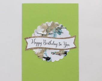 Happy Birthday To You - Marble & Lime Green