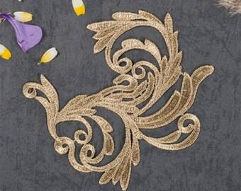1 Pair Gold Embroidery Lace Applique DIY Trim Appliques Patch Clothing Accessories, WL1590