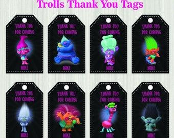 Trolls Inspired Tags Trolls Tags Trolls Thank You Tags Trolls Party Supplies Trolls Tag Trolls Birthday Party Trolls Tag Trolls Thanks Tag
